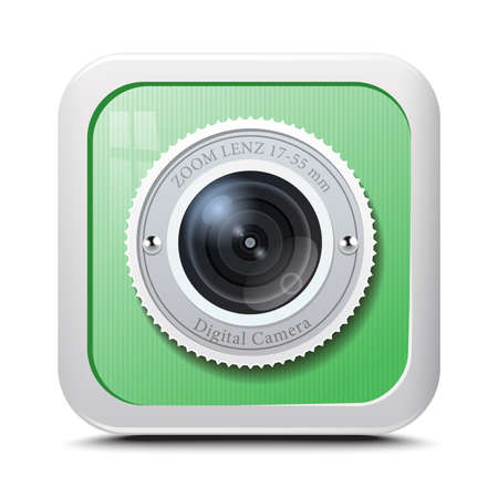 Icon camera green isolated on a white background. Vector Vector