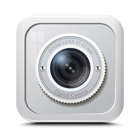 Icon camera grey isolated on a white background. Vector Illustration