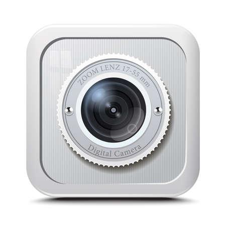 Icoon camera grijze geïsoleerd op een witte achtergrond. Vector
