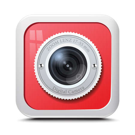 Icon camera red isolated on a white background. Vector Vector