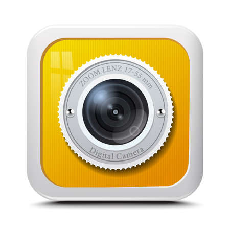 camera icon: Icon camera yellow isolated on a white background. Vector Illustration