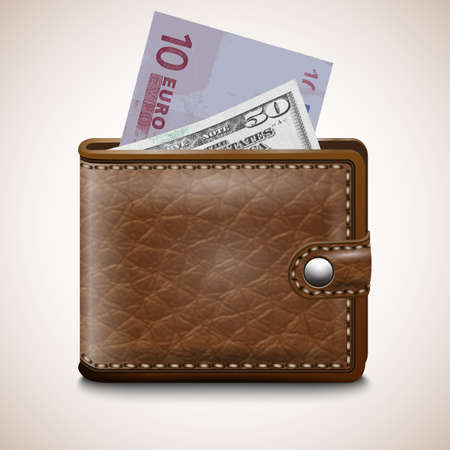 Leather wallet  with Dollar USA, Euro, vector Stock Vector - 17345436