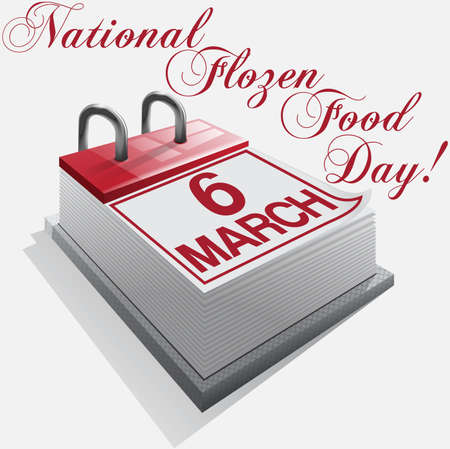 calendar 6 March National Frozen Food Day Stock Vector - 17345434