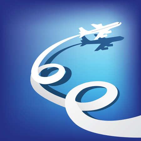 flight steward: Airplane flies in the dark blue sky