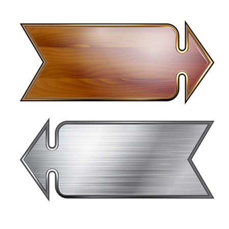 Arrows, wooden and metal surfaces Vector