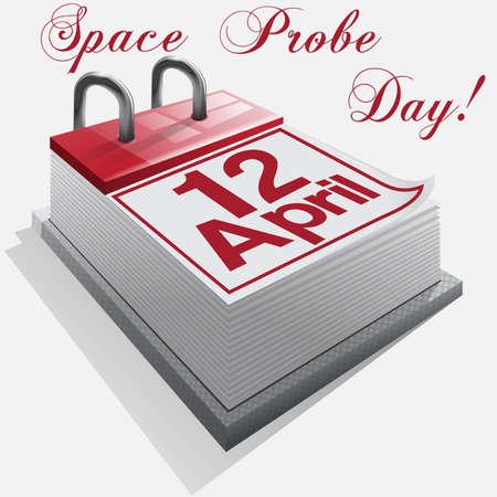 calendar 12  April .Space Probe Day. Stock Vector - 18134794