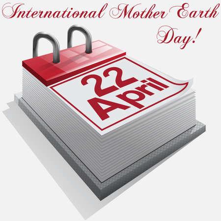 madre tierra: Calendario 22 de abril, D�a Internacional de la Madre Tierra Vectores
