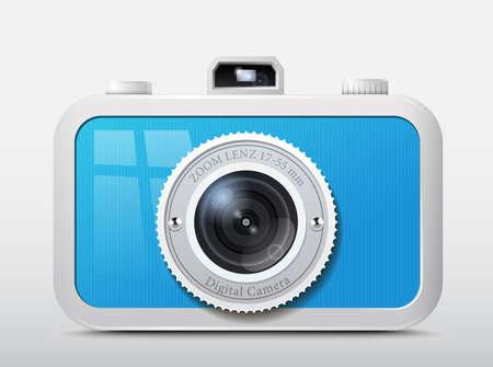 Icon blue plastic camera  Illustration