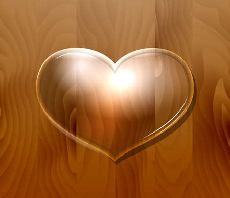 Glass heart on wooden  wall. Vector