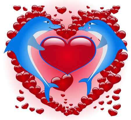 happy valentines day, dolphins Vector