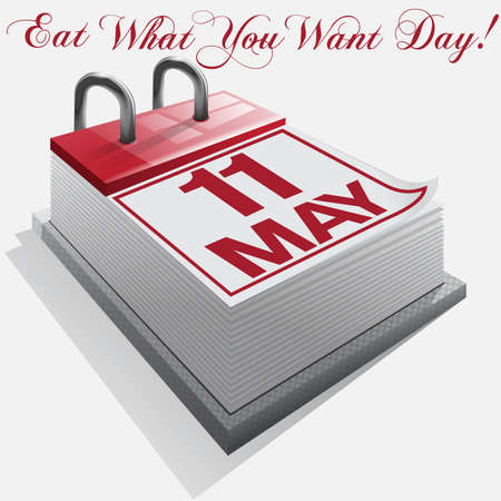 what to eat: calendar 11 May. Eat What You Want Day. Illustration