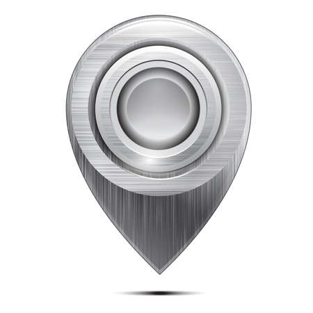 Metal map pointer with a button , isolated on a white background. Vector
