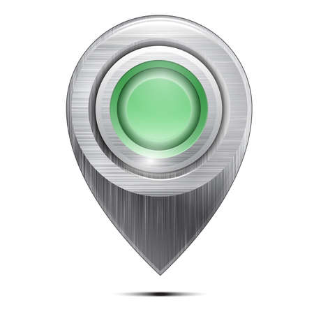 Metal map pointer with a green button , isolated on a white background. Vector Stock Vector - 18235127
