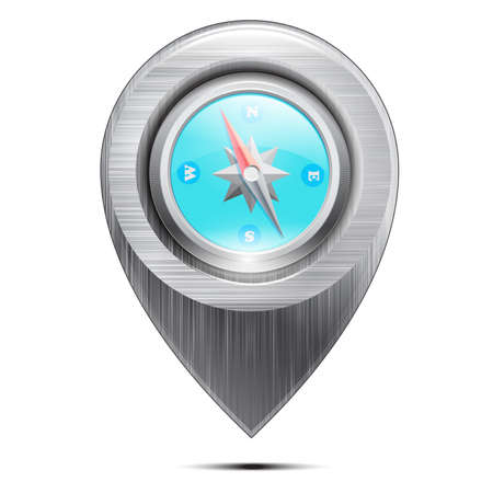 Metal pointer with a compass, isolated on a white background. Vector Stock Vector - 18235087