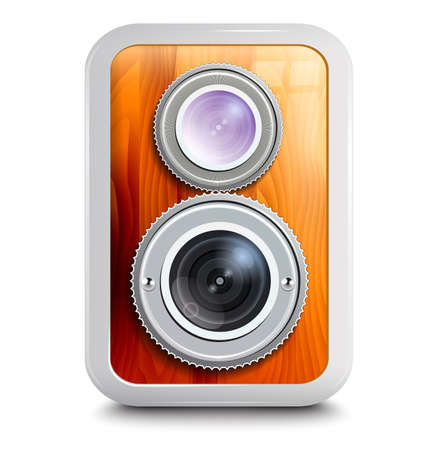 Icon , camera with two lenses, wooden case Illustration
