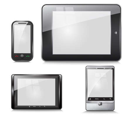 software portability: set of electronic devices, tablet and mobile phone, on a white background