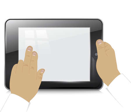 Tablet computer in  businessman hands , on a white background. Stock Vector - 18235089