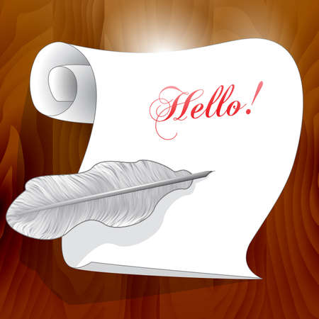 engineered: White paper, feather pen, on a wooden background
