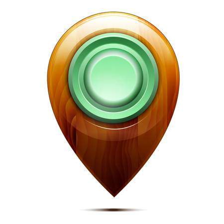 Wooden map pointer ,  green button, isolated on a white background. Vector Stock Vector - 18235208