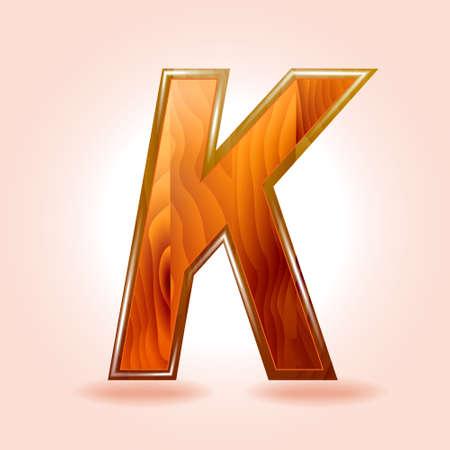 Alphabet wooden, letter K.  Illustration