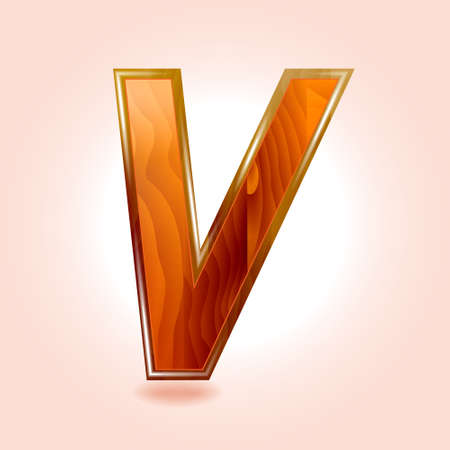 Alphabet wooden, letter V