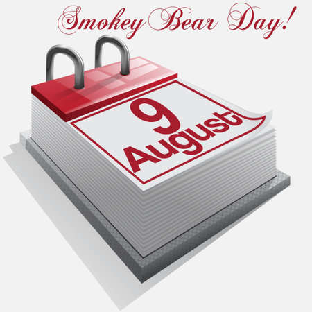 calendar 9 August, Smokey Bear Day    Vector