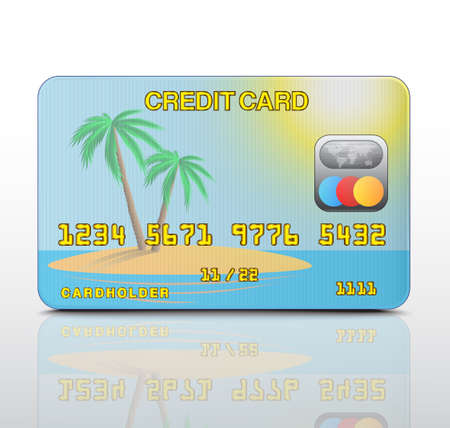 Credit card with the island image Stock Vector - 19006730