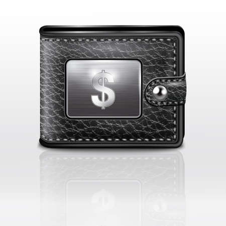 Leather wallet  with dollar USA Stock Vector - 19006792