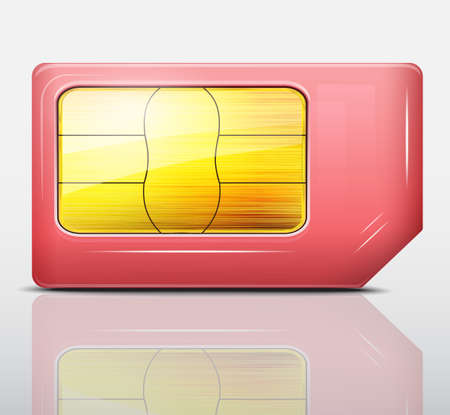 Red sim card icon  Vector