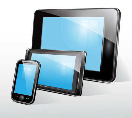 Set of mobile electronic technics Stock Vector - 19006782