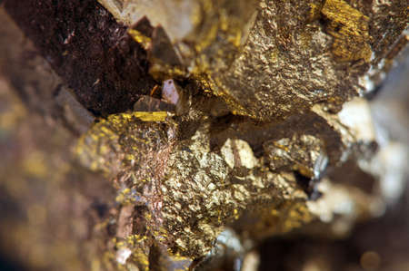 mining gold: Nugget, gold, bronze, copper, iron  Macro  Extreme closeup  Stock Photo