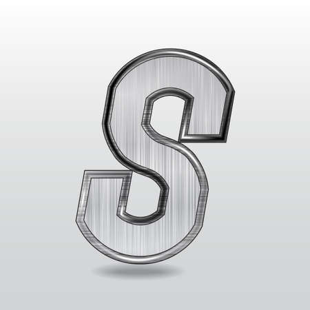 Alphabet metal, letter S.  Illustration