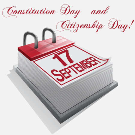 citizenship: calendar 17 September Constitution Day and Citizenship Day Illustration