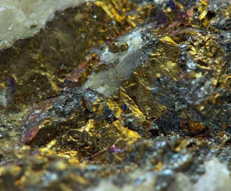 Crystal,nugget, gold, bronze, copper, iron  Macro  Extreme closeup