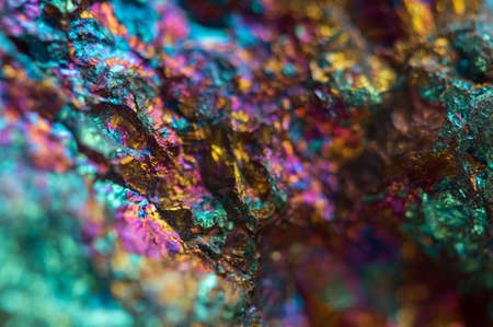 Crystal,nugget, gold, bronze, copper, iron. Macro. Extreme closeup Stockfoto