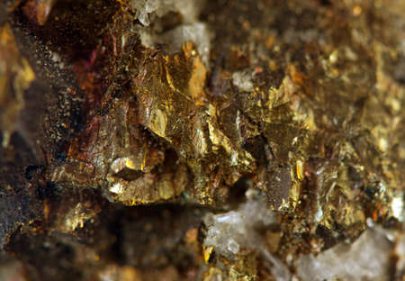 nugget: Crystal,nugget, gold, bronze, copper, iron  Macro  Extreme closeup