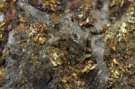Crystal,nugget, gold, bronze, copper, iron  Macro
