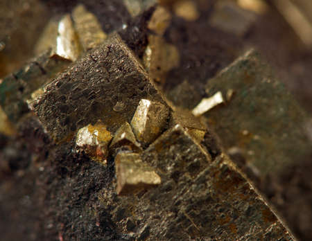 nugget: Crystal,nugget, gold, bronze, copper, iron  Macro