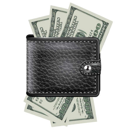 Leather wallet  with dollar USA Çizim