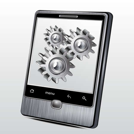 pinion: Mobile phone in the metal case with gear wheels on the screen
