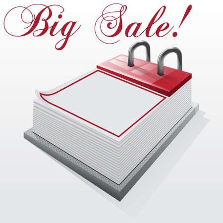 cheaper: Calendar  Big Sale on a white background Illustration