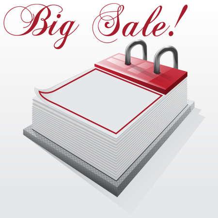 Calendar  Big Sale on a white background Illustration