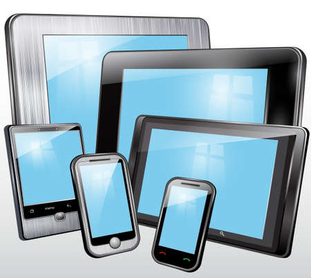 software portability: Set, tablet, mobile phone, in the plastic and metal case  Illustration