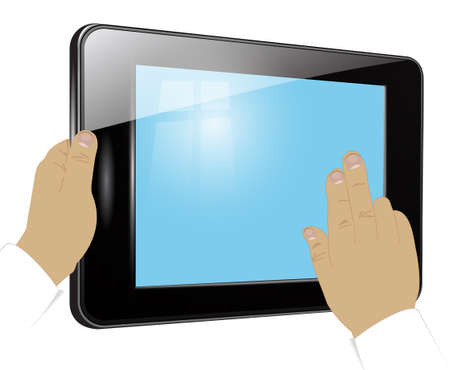 software portability: Tablet in hands Illustration