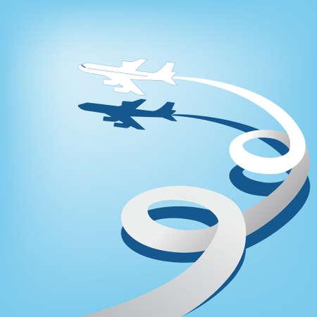 flight steward: AirPlane in sky Illustration