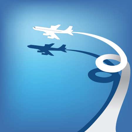 Airplane flies in  sky  Vector Vector