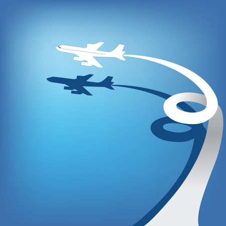 Airplane flies in  sky  Vector