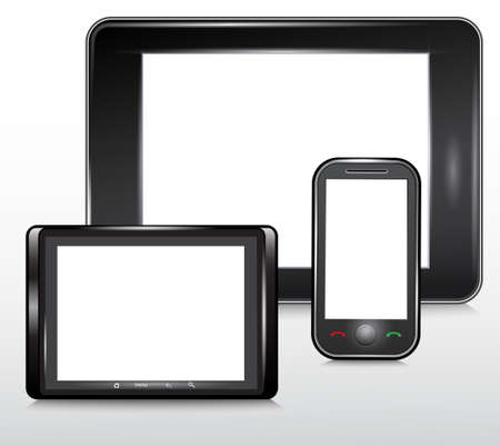 portability: Tablet and Mobile Phone Icon , Vector  Illustration