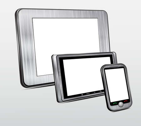 portability: Set of mobile electronic technics  Metal case  Vector Illustration