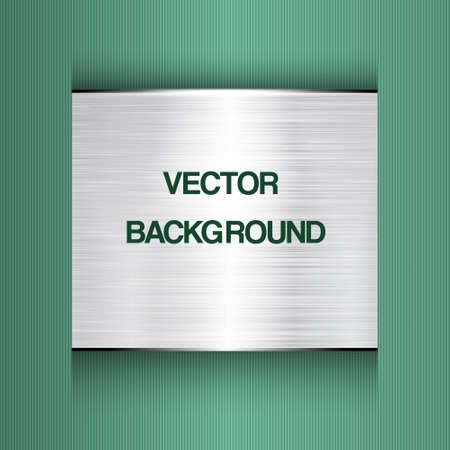 Abstract green  background with a metal plate  Vector Vector